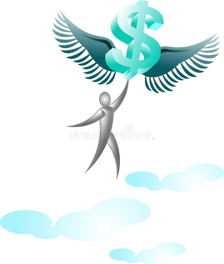 Vliegende dollar met de mens stock illustratie