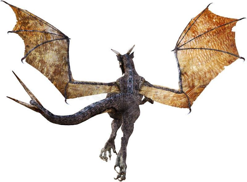 Vliegende Draak, Achter Geïsoleerde Mening, vector illustratie
