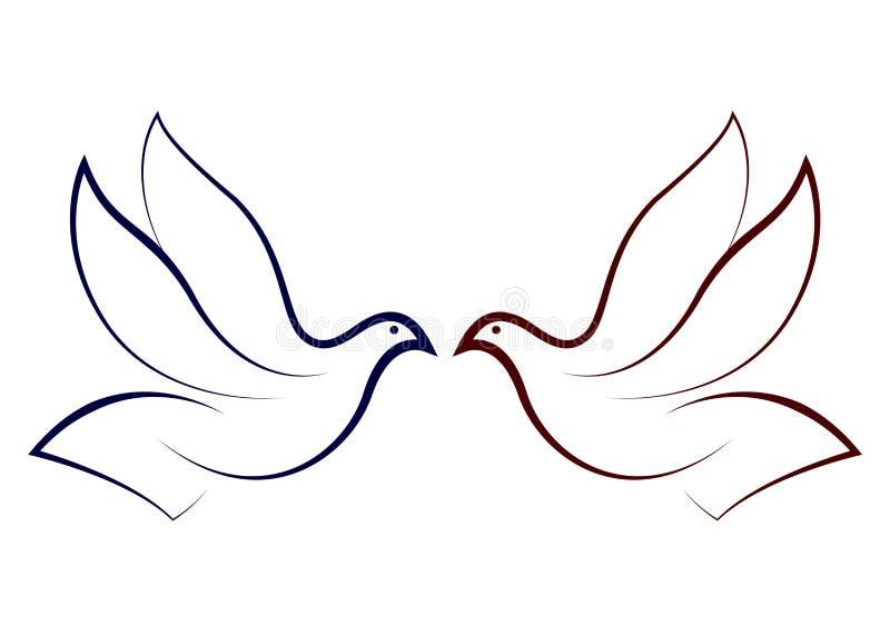 Vliegende duif stock illustratie