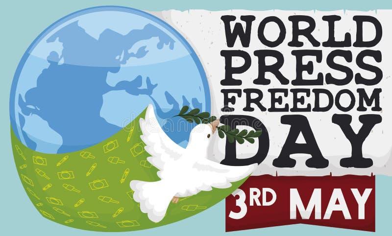 Vliegende Duif die Vrije Toespraak in de Vrijheidsdag van de Wereldpers bevorderen, Vectorillustratie vector illustratie