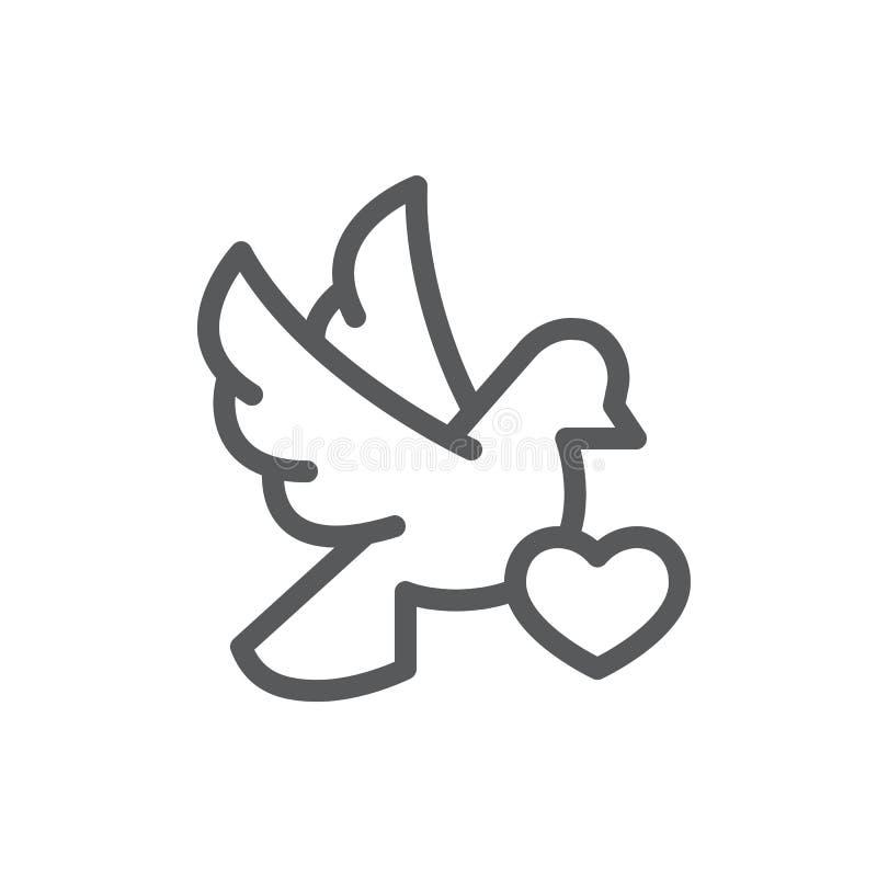 Vliegende duif met de lijnpictogram van de hartkaart met editable slag - pixel perfecte overzichtsknop van de romantische gelukwe royalty-vrije illustratie