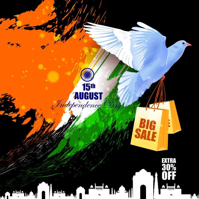 Vliegende Duif op de Indische achtergrond van de de vieringsreclame van de Onafhankelijkheidsdag vector illustratie