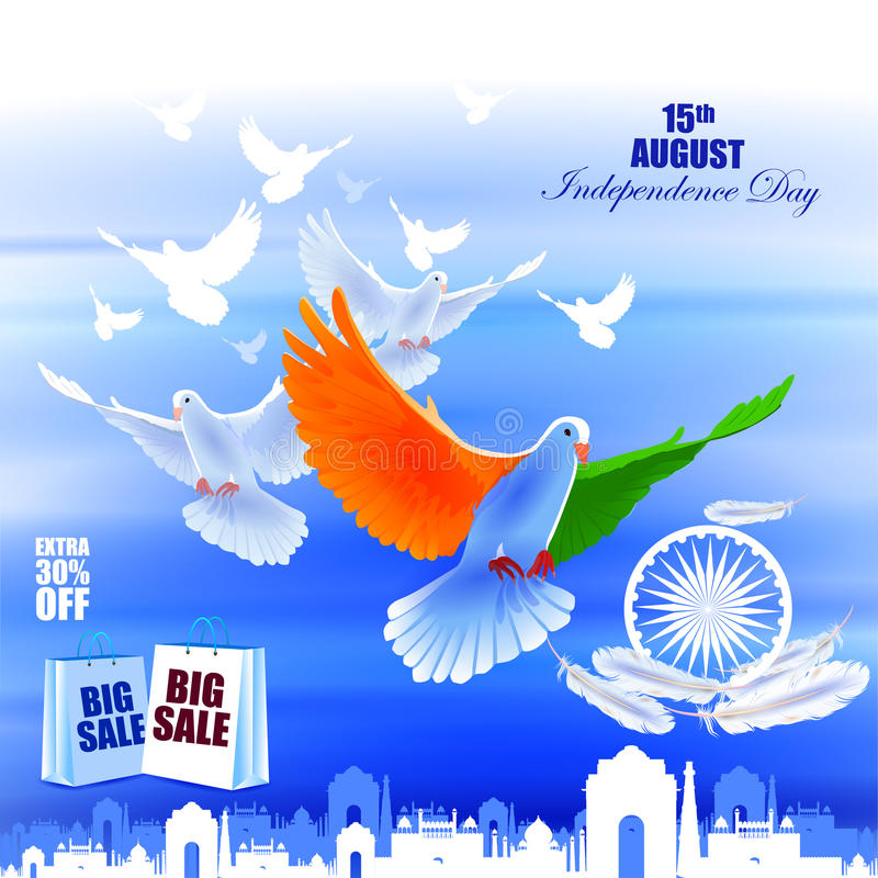 Vliegende Duif op de Indische achtergrond van de de vieringsreclame van de Onafhankelijkheidsdag stock illustratie