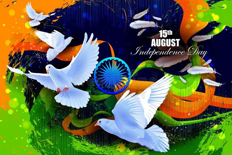 Vliegende Duif op Indische de vieringsachtergrond van de Onafhankelijkheidsdag stock illustratie