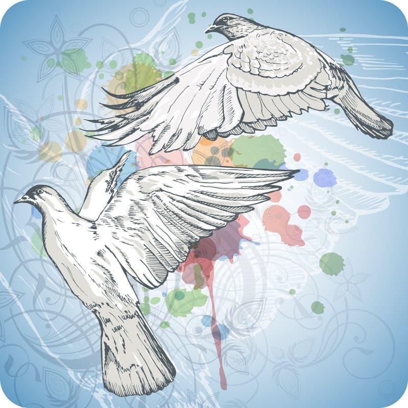 Vliegende duiven op de kleurenverf stock illustratie