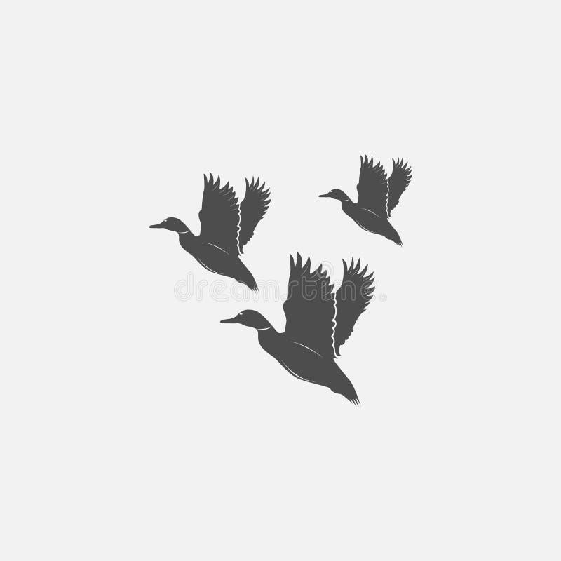 Vliegende eenden in grayscale stock illustratie