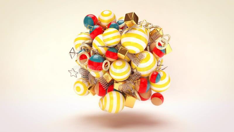 Vliegende Feestelijke Multicolored Ballen vector illustratie