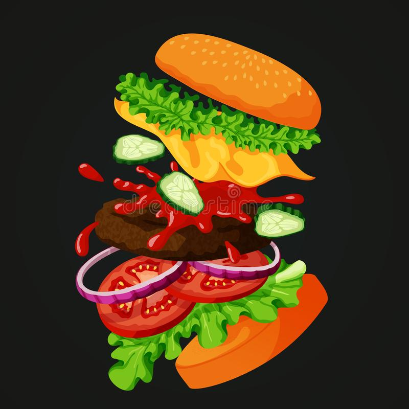 Vliegende gescheiden hamburger het tonen van alle ingrediënten op een bord vector illustratie