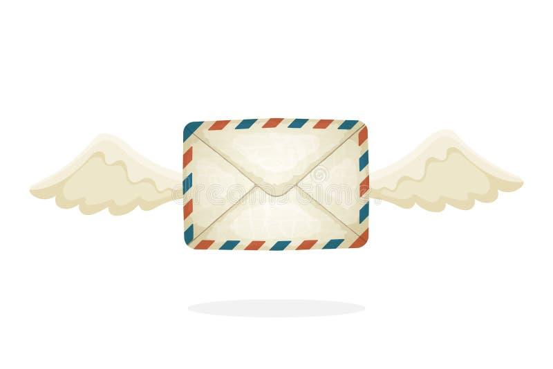 Vliegende gesloten geweeste uitstekende postenvelop met vleugels stock illustratie
