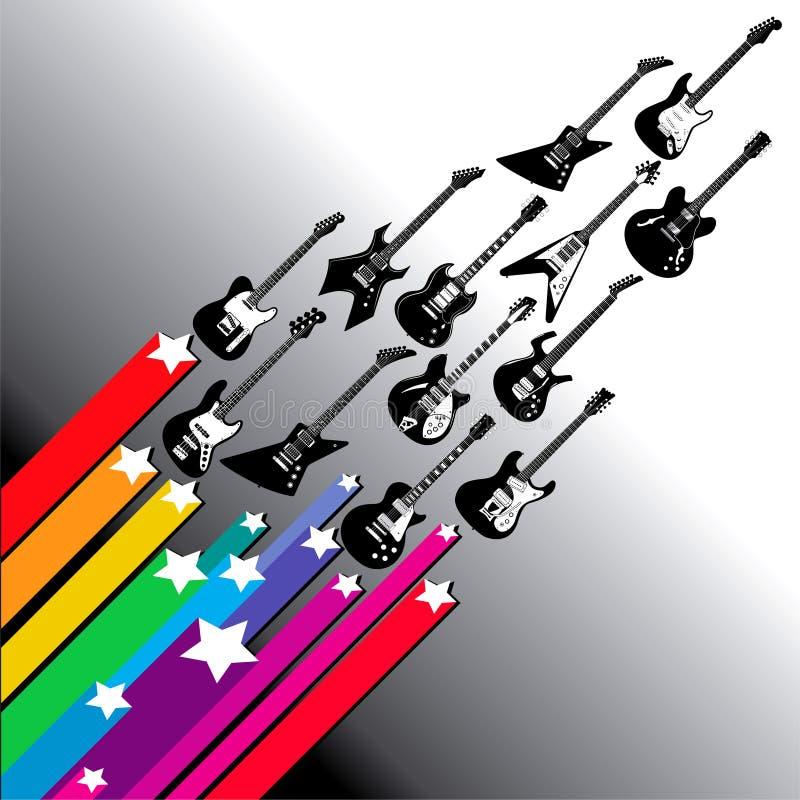 Vliegende gitaren   vector illustratie