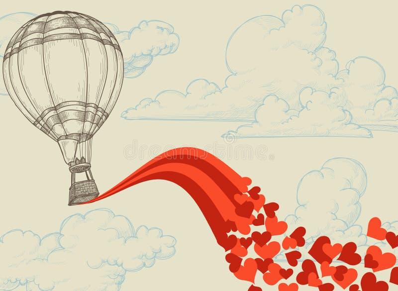 Vliegende harten vector illustratie