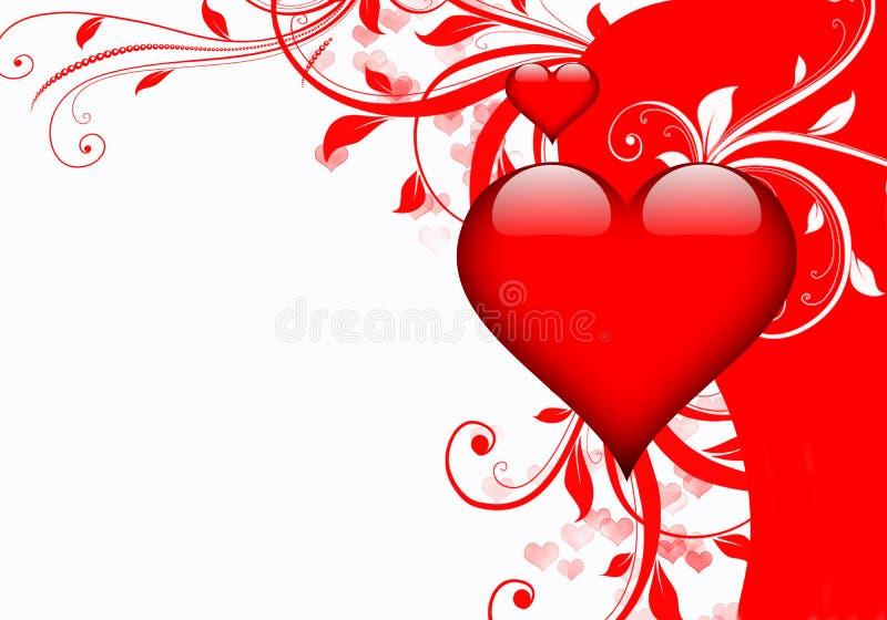 Vliegende harten en wervelingen - de dag van Valentine of Huwelijksachtergrond stock illustratie