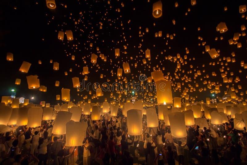 Vliegende Hemellantaarn op Yeepeng-festival royalty-vrije stock fotografie
