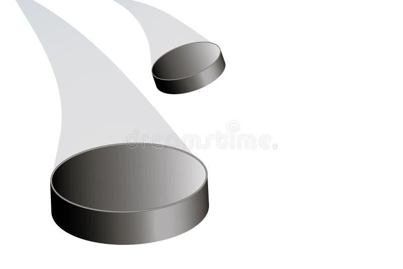 Vliegende hockeypuck aan de linkerzijde met een trein vector illustratie