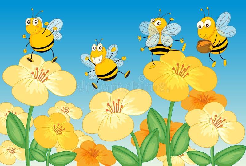 Vliegende honingbijen stock illustratie
