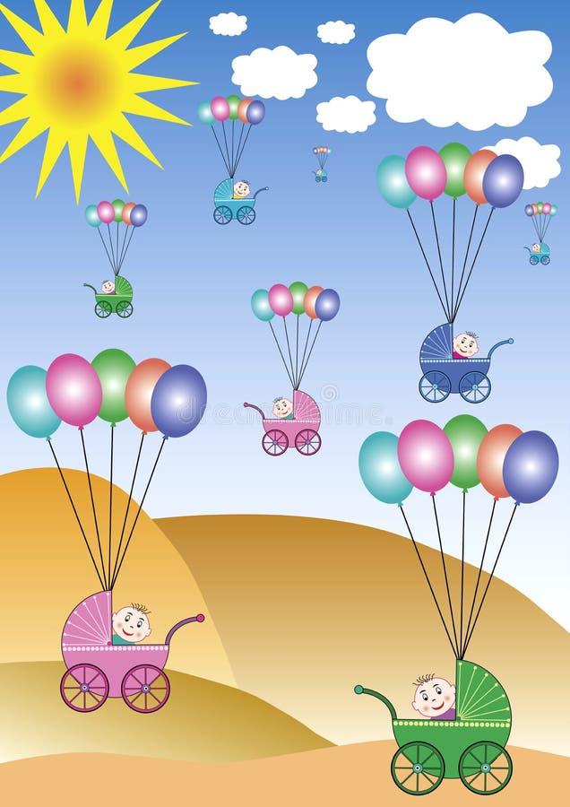 Vliegende kinderwagens royalty-vrije illustratie