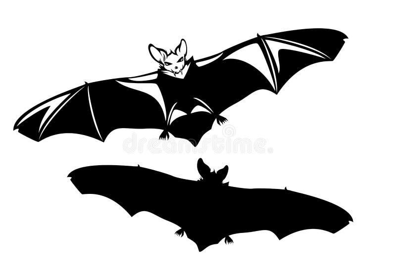 Vliegende knuppel met uitgespreid vleugels zwart vectorontwerp stock illustratie