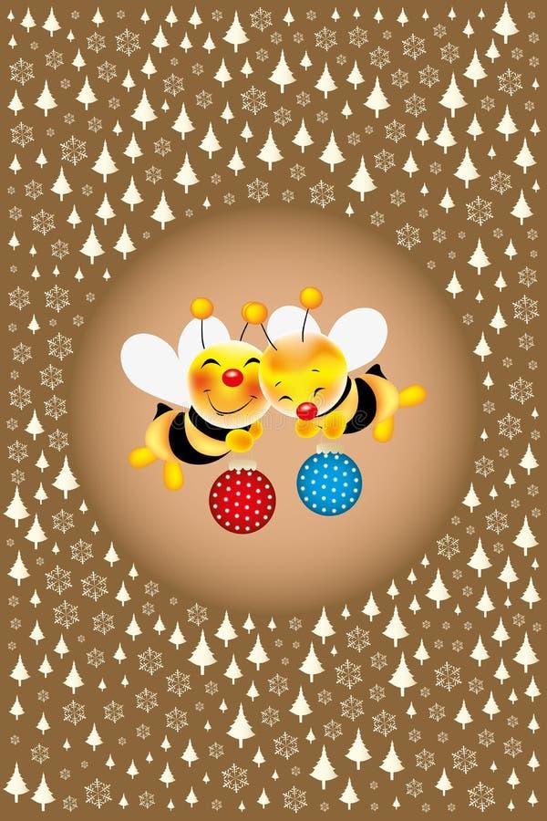 Vliegende leuke bijen die Kerstmisballen brengen vector illustratie