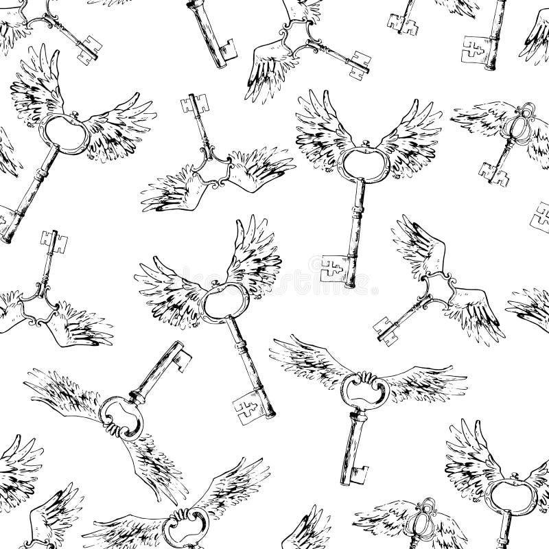Vliegende magische sleutels, vector naadloos patroon Vogel` s mooie winst royalty-vrije illustratie