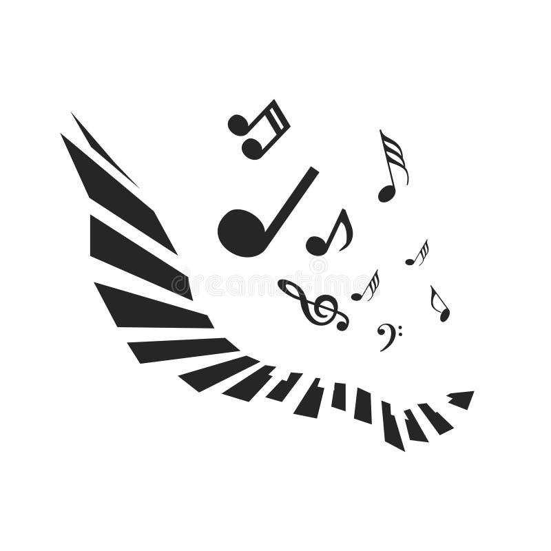 Vliegende Nota's met Abstract Pianotoetsenbord Muziek vectorachtergrond royalty-vrije illustratie