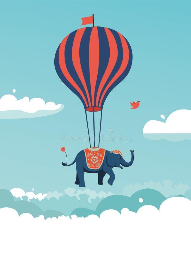 Vliegende olifant stock illustratie