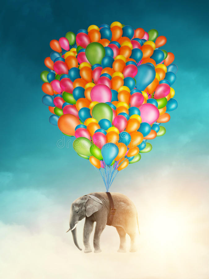 Vliegende olifant stock foto's