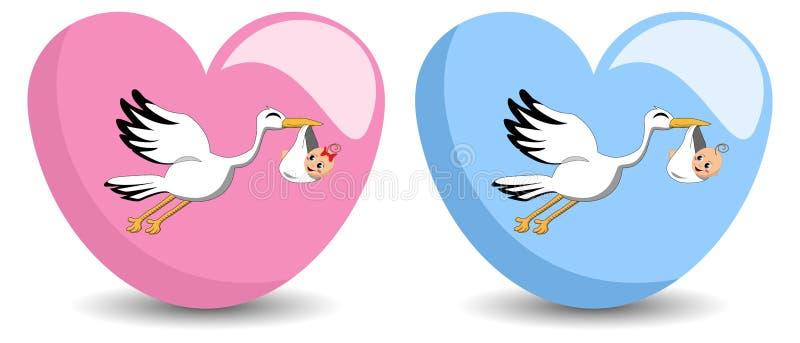 Vliegende Ooievaar die Baby leveren vector illustratie