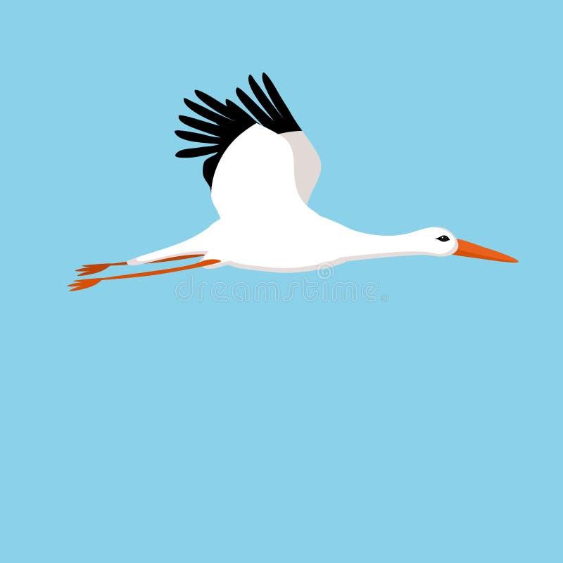 Vliegende ooievaar op een blauwe achtergrond vector illustratie