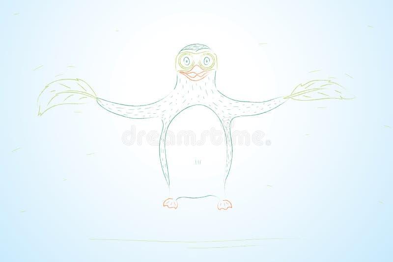 Vliegende pinguïn. De hand trekt conceptie royalty-vrije illustratie