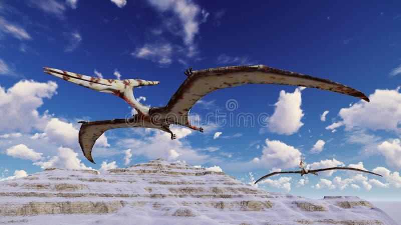 Vliegende pterodactylus tegen de mooie cloudscape 3d illustratie stock illustratie