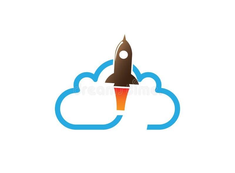 Vliegende raket over een grote wolk voor embleemontwerp royalty-vrije illustratie