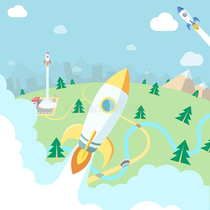 Vliegende raketten Bergen, bos en stadslandschap, Zaken s stock illustratie