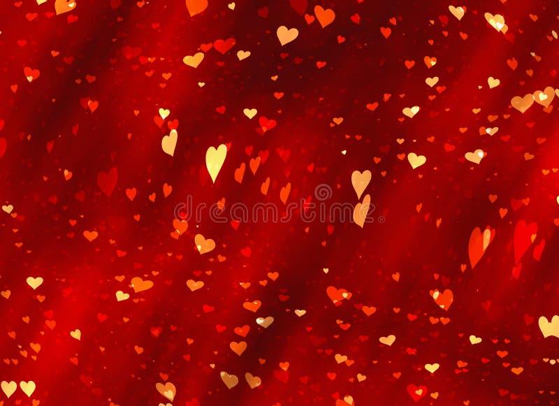 Vliegende rode hartenachtergronden van de dag van Valentine Liefdetextuur vector illustratie
