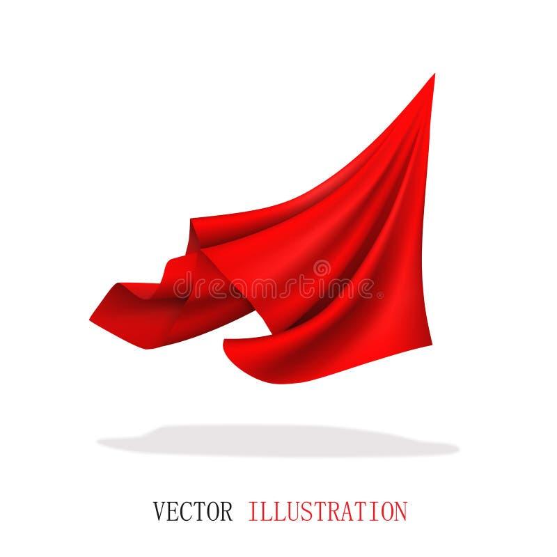 Vliegende roodvlies van satijn Abstracte, dynamische doek royalty-vrije stock afbeelding