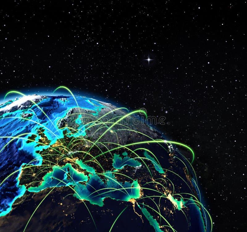 Vliegende routes in Europa royalty-vrije illustratie