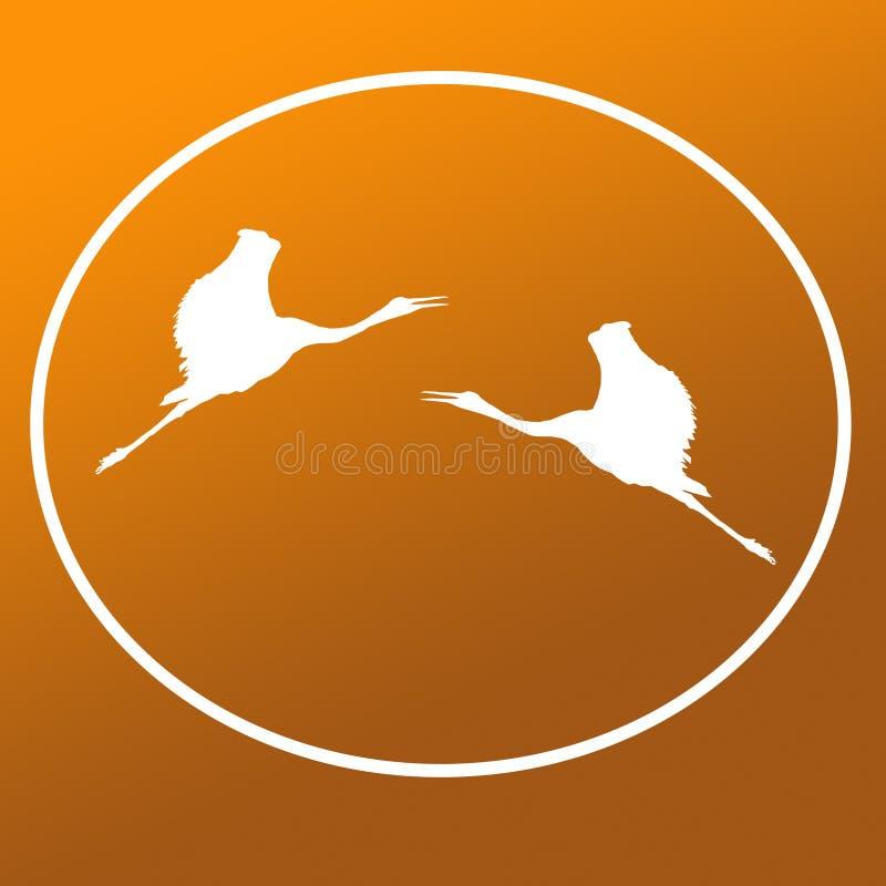 Vliegende Sarus-Kranen Logo Background Icon General Purpose vector illustratie