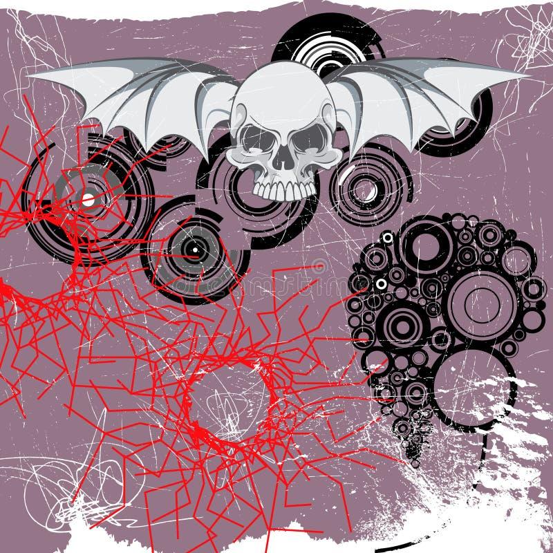 Vliegende schedel stock illustratie