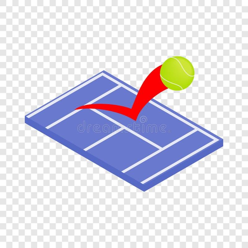Vliegende tennisbal op een blauw hof isometrisch pictogram stock illustratie