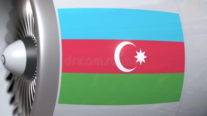 Vliegende vlag van Azerbeidzjan op de motor van vliegtuigtourbine De luchtvaart bracht het 3D teruggeven met elkaar in verband stock illustratie