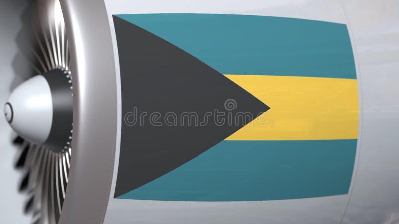 Vliegende vlag van de Bahamas op de motor van lijnvliegtuigtourbine De luchtvaart bracht het 3D teruggeven met elkaar in verband royalty-vrije illustratie