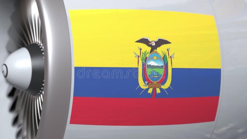 Vliegende vlag van Ecuador op de motor van lijnvliegtuigtourbine De luchtvaart bracht het 3D teruggeven met elkaar in verband royalty-vrije illustratie