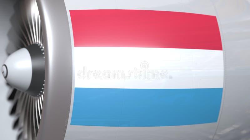 Vliegende vlag van Luxemburg op de motor van lijnvliegtuigtourbine De luchtvaart bracht het 3D teruggeven met elkaar in verband stock illustratie