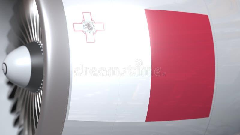 Vliegende vlag van Malta op de motor van vliegtuigtourbine De luchtvaart bracht het 3D teruggeven met elkaar in verband vector illustratie