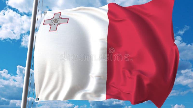 Vliegende vlag van Malta op hemelachtergrond het 3d teruggeven vector illustratie
