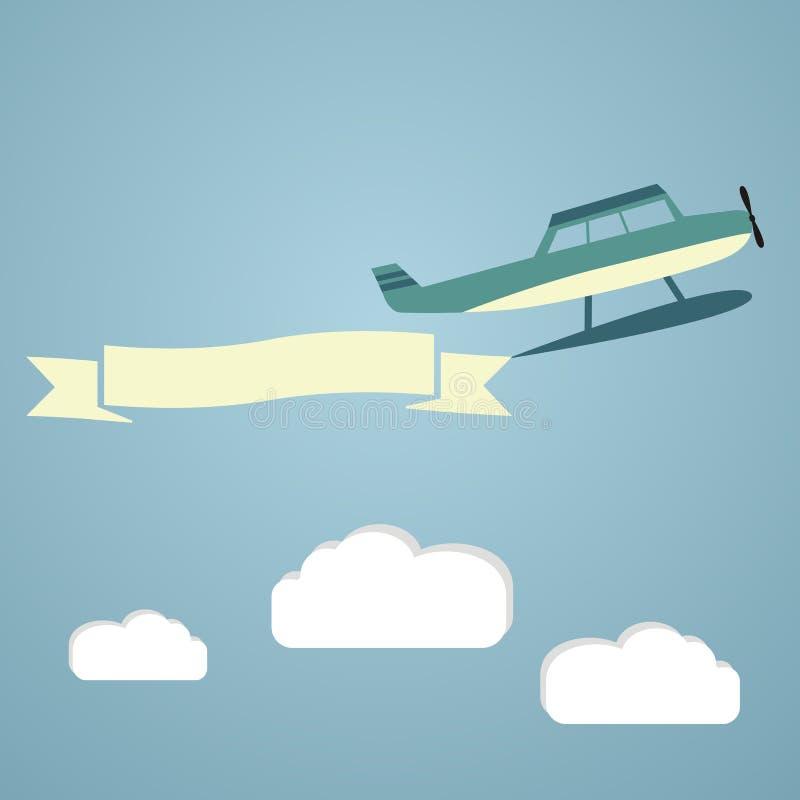 Vliegende vliegtuigen met banners, malplaatje voor tekst, vector royalty-vrije illustratie
