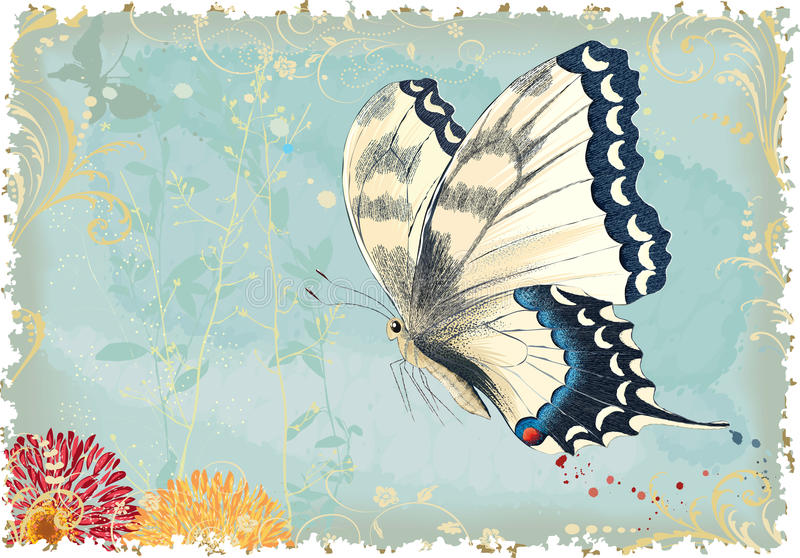 Vliegende vlinder stock illustratie