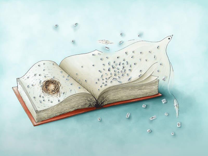 Vliegende vogel en brieven van boek - gekleurde digitale illustratie royalty-vrije stock fotografie