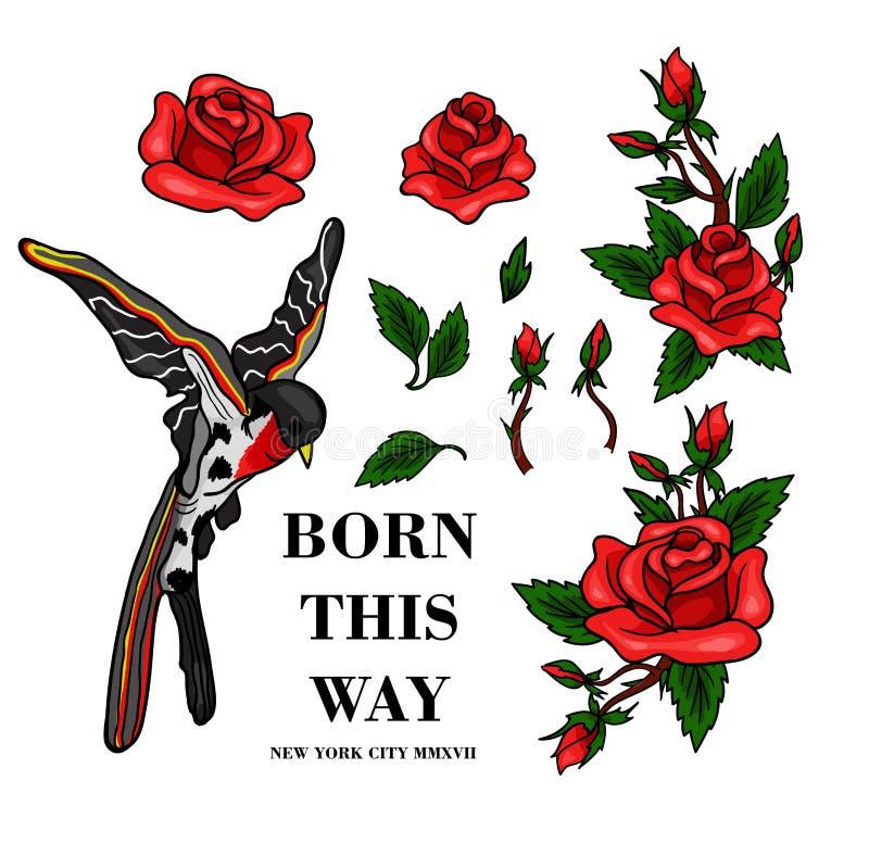 Vliegende vogel en rode rozenstickers voor borduurwerk of drukelementen stock illustratie