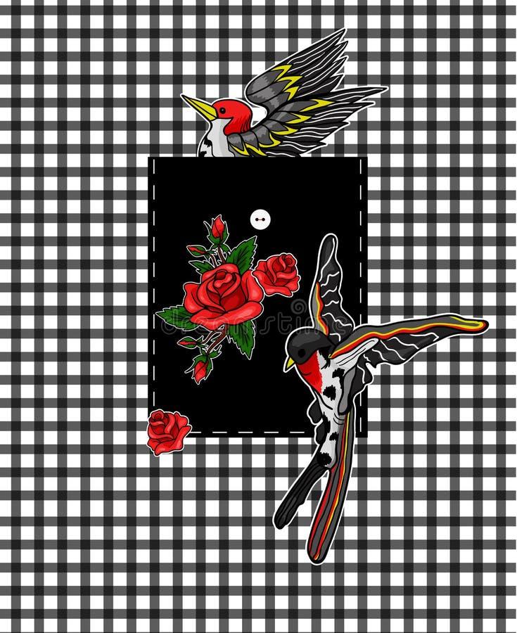 Vliegende vogel en rode rozenstickers voor borduurwerk of drukelementen Ontwerp voor zak stock illustratie