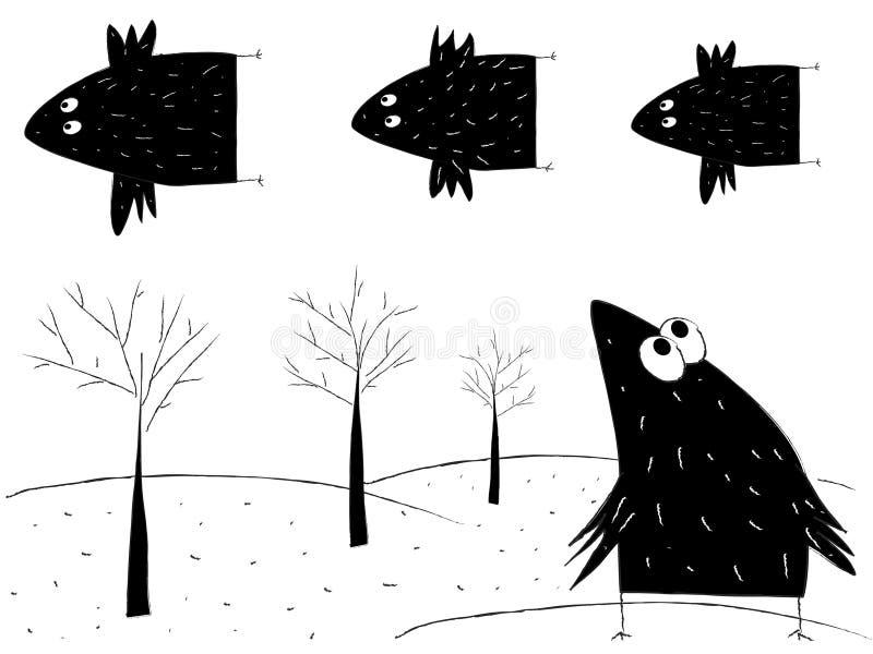 Vliegende vogels royalty-vrije illustratie